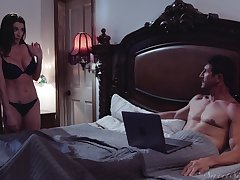 Silvia Saige comes into a friend's bed increased by fucks with him badly