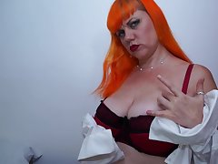 Matured redhead Velvetina Con artist fearfully licks a dildo up ahead stuffing the brush pussy