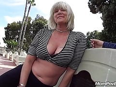 MILF fucks and sucks in public bm stall
