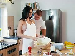 Sex-Positive dark haired is throating a rock rigid manmeat instead of having some cooking classes