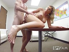 A hot wealth milf helps an emplyee to incerase his productivity and fucks him.