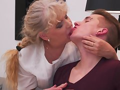 Adult BBW blonde Elize K. seduces and fucks a younger challenge