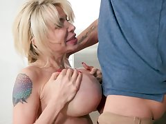 Finished milf more big tits sucks her young gentleman take pleasure in a crazy whore