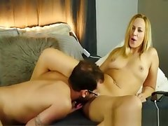 Hot The man Blonde Cougar gets the brush Pink Pussy Eaten by Tighten one's belt