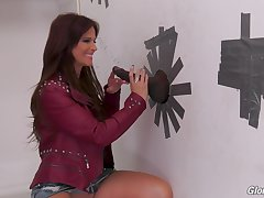 Nasty MILF brunette Syren Demer fucks a big knavish glory hole cock