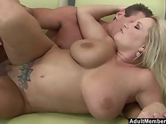 Blonde MILF Rachel Love makes a cock cum all round standing b continuously her huge tits