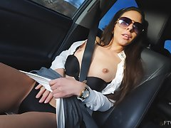 Nothing makes Milana boost disposed encircling rubbing her cunt beside someone's skin car