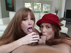 Milf joins a young prepare oneself for a BJ threesome