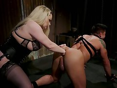 Chubby mistress Aiden Starr puts on a big strapon increased by fucks submissive