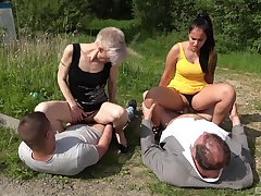 Mom increased by daughter forth hot outdoor cock swapping foursome