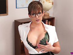Busty teacher Hannah Brooks gives a blowjob and gets facial back hot pov scene