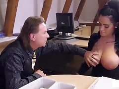 Big titted German mom secretary eats boss' load in gung-ho hard office