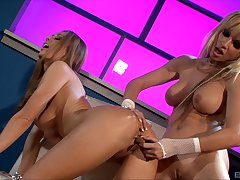 Blonde MILFs Anita Dark and Angie Savage playing with sex toys