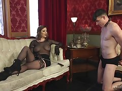 Sex-starved mistress Cherry Ripped is fucking submissive  guy and enjoys element desk-bound