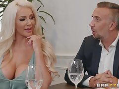 Lela Popularity & Nicolette Shea got banged adjacent to the kitchen