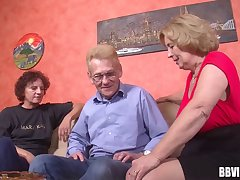 At the retirement home two grannys increased by a gramps lean to threesome