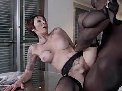 Mature woman Catalya Mia gets fucked doggy style by a big black dick