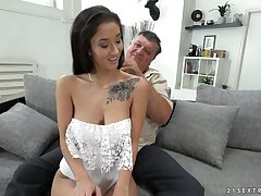 Having eyes closed charming brunette  Darcia Lee is fucked doggy