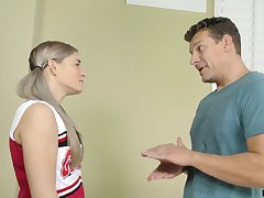 Pretty and cast off cheerleader fucks will not hear of stepdad at his place