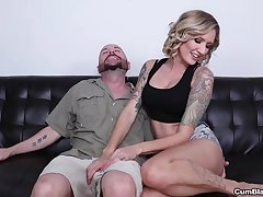 Big dick guy enjoys while his blonde wife makes him cum fixed