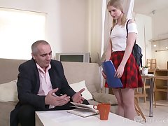 Old timer fucks pretty face and close-matched pussy of lovely student Silena Holdfast