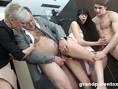 Foursome having it away with old and young couple with cum on tits