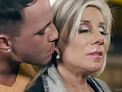 Sexy cougar with big boobs Payton Hal is making love with young nextdoor man