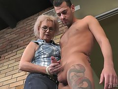 Handsome caller John Price fucks old land lady and cums on will not hear of glasses