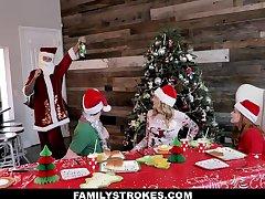Charlotte Sins & Summer Hart in Christmas Family Orgy - FamilyStrokes