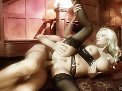 Blonde Michelle Thorne with sexy lingerie getting fucked hard
