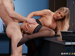 Young lad fucks the hot secretary and makes her pay off