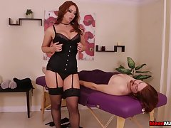 Mature redhead respecting stockings and lingerie pleasuring their way client