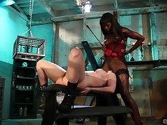 Ebony mistress plays with their way slave girl pretty rough