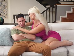 Stepson has the honor to feel big boobies of hot stepmom London River