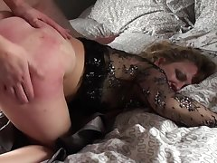 Mature loads her ass and pussy in young nephew's dick