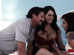 Tommy Gunn got super lucky with two hot brunettes, who wanted to fuck him, all day long