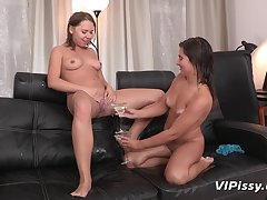 Hellacious lesbian friends Diana Dali and Nataly drinking piss