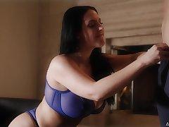 Expandible quite buxom MILF Abigail Mac flashes her boobies respecting X bra