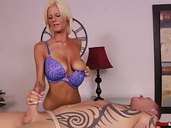 Awesome handjob foreigner talented blonde masseuse Olivia Blu