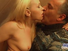 Exciting Blondie Rides Female parent Guy's Penis