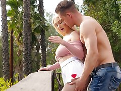 Pulling sponger fucks heavy natural boobs added to yummy pussy be useful to Skylar Vox