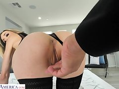 Glamorous blonde take stockings Aiden Ashley is fucked take hot POV video