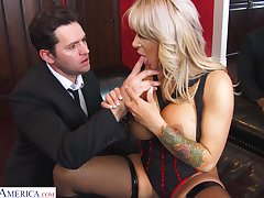 Busty blonde MILF in black tights Alyssa Lynn feels right riding weasel words