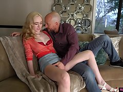 Blonde beauty gets naked to endure enduring copulation and ass spanking