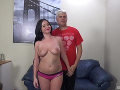Chubby mature Rachele Richey gets her pussy fucked on the sofa