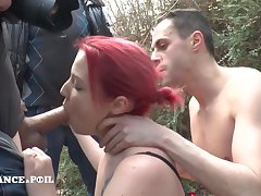 Young Full Redhead Streetwalker Gets hard be crazy threesome