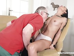 Seductive brunette tries senior inches into their way wet holes