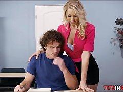 Blonde tutor seduces student