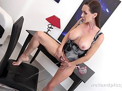 Hot fetish babe Cynthia Vellons is pissing in panties and masturbating pussy