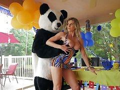 Panda bear fucks horny mature bargain for a birthday gang